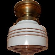 Petite Vintage Brass Fixture w/Deco Streamlined Shade