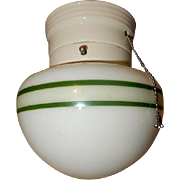 1930s Porcelain Glass Fixture with Green Stripe Shade