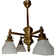 Extraordinary Arts & Crafts Brass Chandelier with Oversized Glass Shades