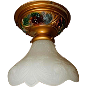 Art Nouveau Glass Shade on Flush Mount Ceiling Light