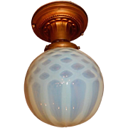 Art Nouveau Brass Ceiling Light with Opalescent Glass Shade