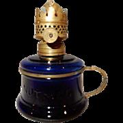 Miniature Kerosene Oil Lamp - Embossed NUTMEG Cobalt Blue Glass & Brass Finger Holder