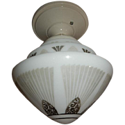 Art Deco Flush Mount Ceiling Light Fixture with Black Decorated Sky Scraper Shade