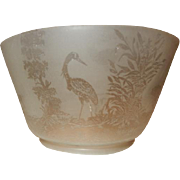 Eastlake Aesthetic Egret Acid Etched Art Glass Gas Shade Circa 1870's