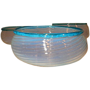 "Set of Three 2 5/8"" Fitter Opalescent Swirl Gas Shades Trimmed in Aqua Marine Circa 1860's"