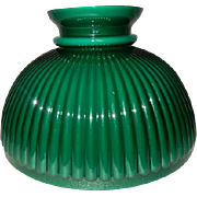 Victorian Cased Green Thin Ribbed Kerosene Oil Student Lamp Shade