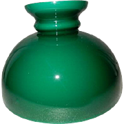 Victorian Cased Green Kerosene Oil Student Lamp Shade