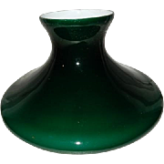 Victorian Cased Green High Hat Deep Dish Tam-O-Shanter  Kerosene Oil Student Lamp Shade