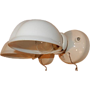 Vintage pair white Streamlined porcelain wall sconces with matching Deco shades. Price for pair