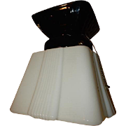 Art Deco Milk Glass Shade with Black Porcelain Ceiling Fixture