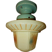 1930s Mid Century Style Custard Glass Shade on Seafoam Green Porcelain Fitter