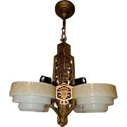Four Light Deco Slip Shade Prairie Style Ceiling Fixture