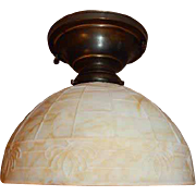 Arts & Crafts Slag Art Glass Shade on Brass Flush Mount Ceiling Light