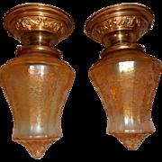 Pr. Amber Iridescent Acid-etched Shades on Brass Flush Mount Ceiling Light Fixtures-------Priced per Pr.