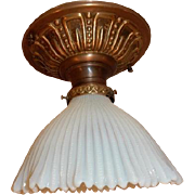 Opalescent Beaded Art Glass Shade on Brass Flush Mount Ceiling Light