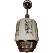 Art Deco Hanging Pendant Ceiling Light Fixture w Wedding Cake Shade