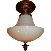 Neo-Classical Shade on Brass Flush Mount Ceiling Light Fixture
