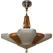 1930s Art Deco Six Shade Chandelier-----TWO Complete Chandeliers Avail.