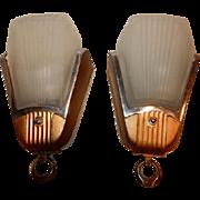 Deco Era Slip Shade Wall Sconces 1920s - 1930s.