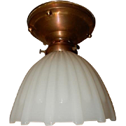 White Thin Ribbed Milk Glass Shade in Simple Brass Ceiling fixture