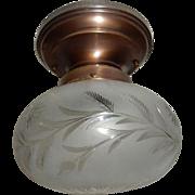 Wheel Cut Floral Shade on Brass Flush Mount Ceiling Light Fixture
