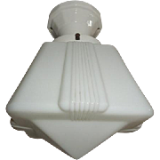 Deco Milk Glass Shade with Porcelain Ceiling Fixture