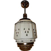 Art Deco Hanging Pendant Ceiling Light Fixture w Wedding Cake Shade------Pr. Avail.
