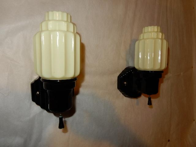 Black Porcelain Wall Sconce w Custard Skyscraper Shades-----1920s from midwestern-lamp ...