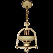 1930's Mid-Century Style Brass & Navajo White Art Deco Vintage Pendant.