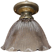 Holophone E-150 Glass Shade in Decorated Brass Ceiling Fixture