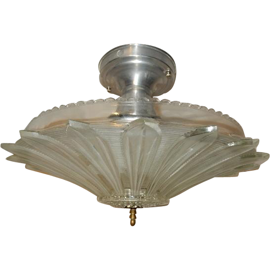 Art Deco Flush Mount Ceiling Light Fixture W Original Art