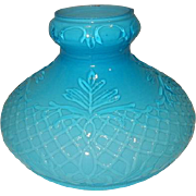 Victorian Blue Cased Embossed Consolidated Kerosene Oil G.W.W.  Parlor Student Lamp Shade