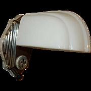 Very Art Deco Nickel Chrome Plate Streamlined Bath Wall Sconce with Original Milk Glass Deco Shade
