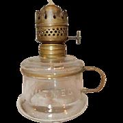 Miniature Kerosene Oil Lamp - Embossed NUTMEG  Clear Glass & Brass Finger Holder