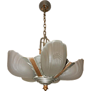 1930s Art Deco Five Light Chandelier