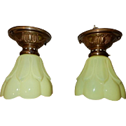 Pair Vaseline Shades on Brass Flush Mount Ceiling Light Fixtures