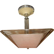 Art Deco Flush Mount Ceiling Light Fixture w Original Pink Thin Ribbed Shade