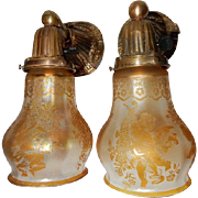 Art Nouveau Brass Sconces w Amber Iridescent Acid Etched Cherub Shades