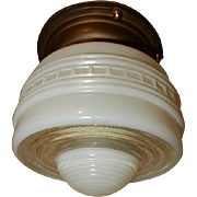 1930s Vintage Ceiling Light Fixture with Streamlined Saturn Shade