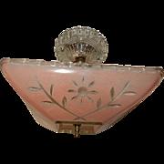 Art Deco Flush Mount Ceiling Light Fixture w Original Pink Floral Shade