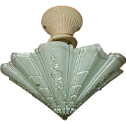 Consolidated Glass Art Deco Shade w Porcelain Ceiling Fixture