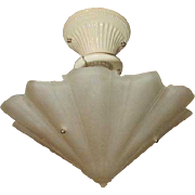 Consolidated Glass Art Deco Satin Shade w Porcelain Ceiling Fixture