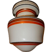 Deco Red Striped One Piece Glass Saturn Shade with Original Nickel Fixture