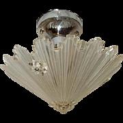 Art Glass Art Deco Shade w Original Nickel Chrome Ceiling Fixture