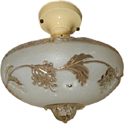 Art Deco Flush Mount Ceiling Light Fixture w Original Frosted Floral Shade