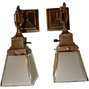 Dual Purpose--- Simple Mission Style Arts and Crafts Sconces  or Pendants With Etched Shades