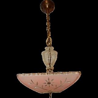 Art Deco Hanging Ceiling Light Pendant Fixture w Original Pink Floral Shade