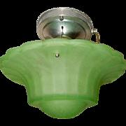 Rare Green Art Glass Art Deco Shade w Original Polished Aluminum Ceiling Fixture