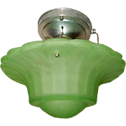 Rare Green Art Glass Art Deco Shade w Original Polished Aluminum Ceiling Fixture------Pr. Avail.