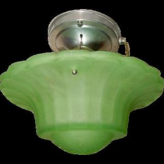 Rare Green Art Glass Art Deco Shade w Original Polished Aluminum Ceiling Fixture------Pr. Avail.